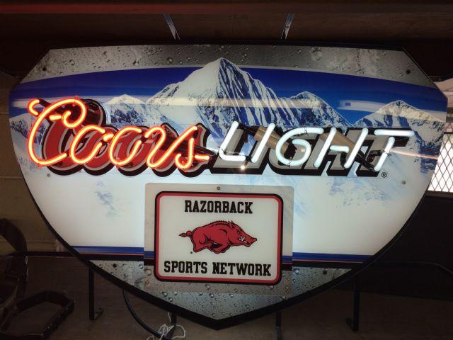 Arkansas Razorback Coors Light Sign